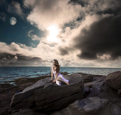 ...what it means to be elemental. (Leah Johnston) Tags: ocean sea portrait sky woman moon selfportrait beach water girl female clouds self rocks poetry wind leah fineart boulders portfolio poems johnston whitedress selfportraitartist leahjohnson leahjohnston leahjohnstonphotography leahjohnsonphotography leahjohnstonphotos