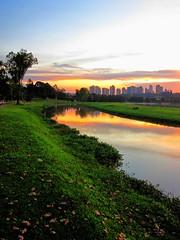 Technicolor dreams (peggyhr) Tags: park trees sunset brazil sky orange green nature water leaves yellow skyline clouds reflections river curitiba wetlands pr waterfowl globalvillage2 peggyhr sunbestsunphotos canonpowershotsd880is 2001fa