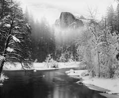 Hidden Cliff | Yosemite National Park, USA (ART SRISAK | PHOTOGRAPHY) Tags: california bw snow mamiya film mediumformat yosemite delta100 waterscape rb67pros filmforward artsrisak ilfoard
