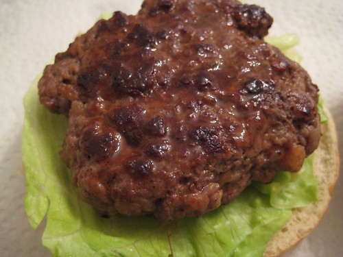 Beef patty on Iceberg Lettuce