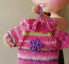 pink green sweater cropped