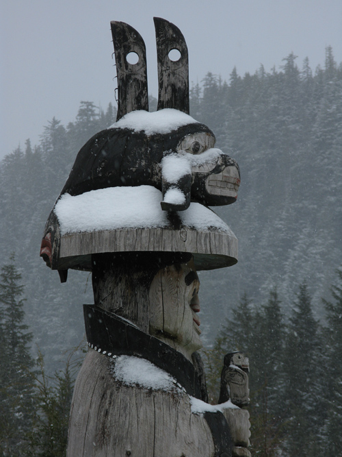 snow on a totem at Cape Fox Lodge, Ketchikan, Alaska