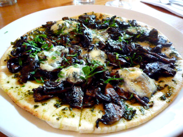 Filed mushroom, basil pesto and St Agur blue cheese pizza