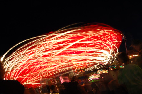 If you have a tripod on you, and your in an amusement park or some type of fair grounds, long exposures of rides look very good if taken in long exposure mode. Ferris wheels also work very well.