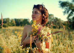 The magic of the spring winds blow (donemonic) Tags: flowers summer people woman sun art girl spring kiev