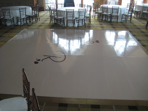 custom ivory dance floor with initials - Thrans Florals and Planning