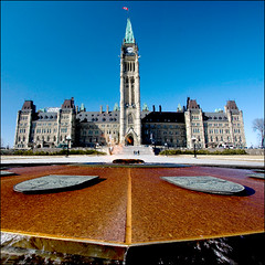 ~ Political Playground ~ (ViaMoi) Tags: travel blue ontario canada fountain digital canon photography ottawa politics hill capital parliament canadian naturalgas peacetower eternalflame centreblock digitalcameraclub ottawacanada 40d aplusphoto canon40d viamoi 100commentgroup