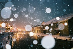 winter blue [explored ] (librarymook) Tags: winter light snow cold reflection building film water lamp japan night canal hokkaido fuji natura iso 1600 explore   fujifilm otaru classica explored mooprint