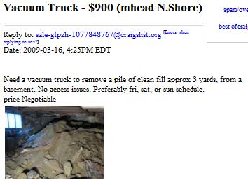 craigslist ad for vacuum truck