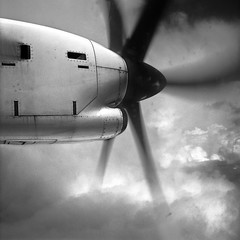 Propeller (javiy) Tags: sky storm clouds speed plane airplane movement action fast lapalma propeller atr72 binter goingback