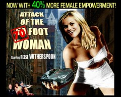 """Reese Witherspoon in the remake of """"Attack of the 50 Ft. Woman"""" (DarkJediKnight) Tags: humor reesewitherspoon monstersvsaliens ginormica attack50footwoman"""