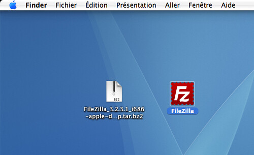 icône FileZilla décompressée