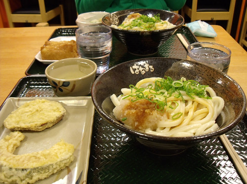 Our Hanamaru dinner with noodles, tempura, sushi and tofu