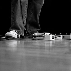 pedal to the metal (b*wag) Tags: blackandwhite bw music feet studio square texas floor angle legs tx perspective houston sneakers cables pedals chucks recording iso1600 thissideup bungalowrecordingstudio