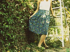 Day two. (celeste li) Tags: nature leaves project backyard sandals skirt ladder 365 curtsy celeste celestephotography