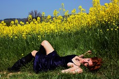 morgana (plicci) Tags: flowers red woman girl beauty field yellow hair giallo campo lucia fiori ragazza morgana cimedirapa