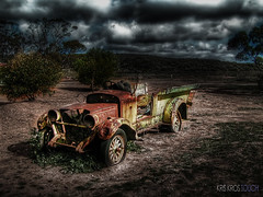 the invisible driver (Kris Kros) Tags: old cloud man classic halloween field car headless photoshop photography high scary open searchthebest dynamic flat antique invisible stormy tire spooky horror kris range hdr kkg horseman the cs4 photomatix kros kriskros 1xp kktouch kkgallery