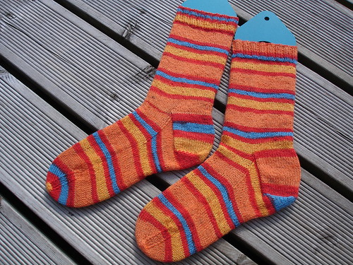 Michael's summery stripy socks 003