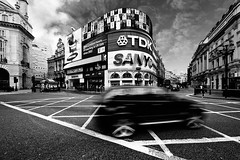 Cruisin' (Philipp Klinger Photography) Tags: street uk greatbritain houses england sky bw house motion blur london lines car architecture clouds facade blackwhite movement nikon unitedkingdom circus ad samsung picadilly tire gb bmw sanyo picadillycircus rim philipp tdk x5 klinger d700 theunforgettablepictures platinumheartaward dcdead