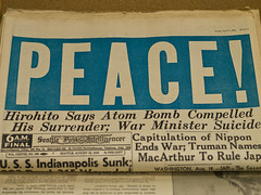 Image: WWII peace in Japan newspaper publishing example of above the fold