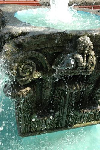 Blue water, stone fountain, Guadalajara, Mexico by Wonderlane