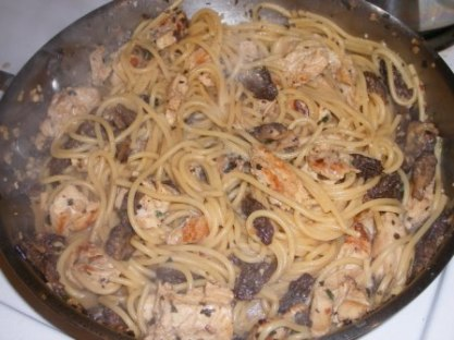 Chicken Morel Pasta in the Pan