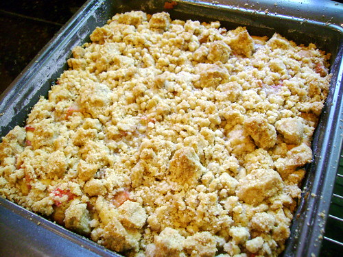 Big crumb coffee cake with rhubarb