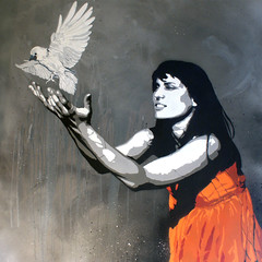 Freedom - Dark (oliverwinconek) Tags: urban black bird london art girl stencil paint oliver dress spray drips crow raven bonbon rhea winconek