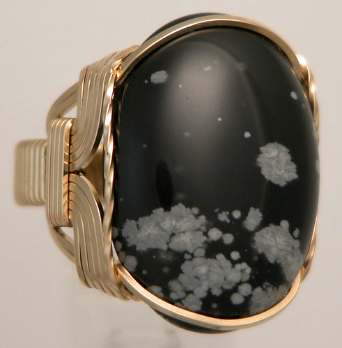 Wire Wrapped Mens Snowflake Obsidian Ring