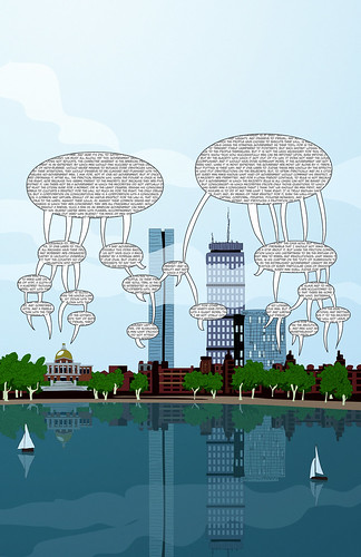 Boston skyline cartoon with text by blackaller