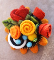 Felt flower brooch (woolly  fabulous) Tags: wool felted pin brooch felt zipper corsage embroidered