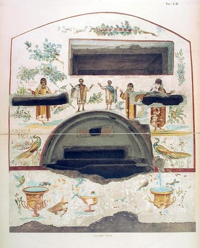 014-Arcosolio principal de la cripta llamda de los cinco santos 1-La Roma sotterranea cristiana - © Universitätsbibliothek Heidelberg
