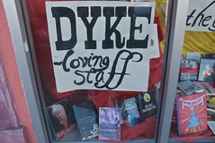 Dyke loving staff -  - Modern Times (Steve Rhodes) Tags: sf sanfrancisco ca june glbt books pride bookstore mission missiondistrict queer moderntimes 2009 sanfranciscocityhall moderntimesbookstore june09 moderntimesbooks mtbs june2009
