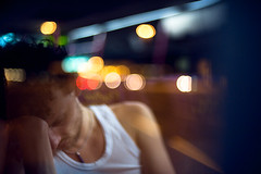 Night Bus (TGKW) Tags: portrait people white man reflection bus window public night hair hongkong bokeh candid transport jewellery curly nightlife vest asleep rik 2912
