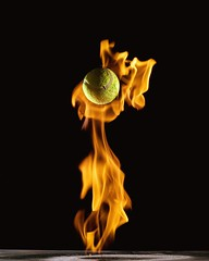 Pyromania (ICT_photo) Tags: ontario ball fire guelph tennis flame cooper bounce talcumpowder ianthomas ictphoto