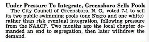 Greensboro, NC Will Sell Public Pools Rather Than Let Negroes Use Them - Jet Magazine, December 5, 1957