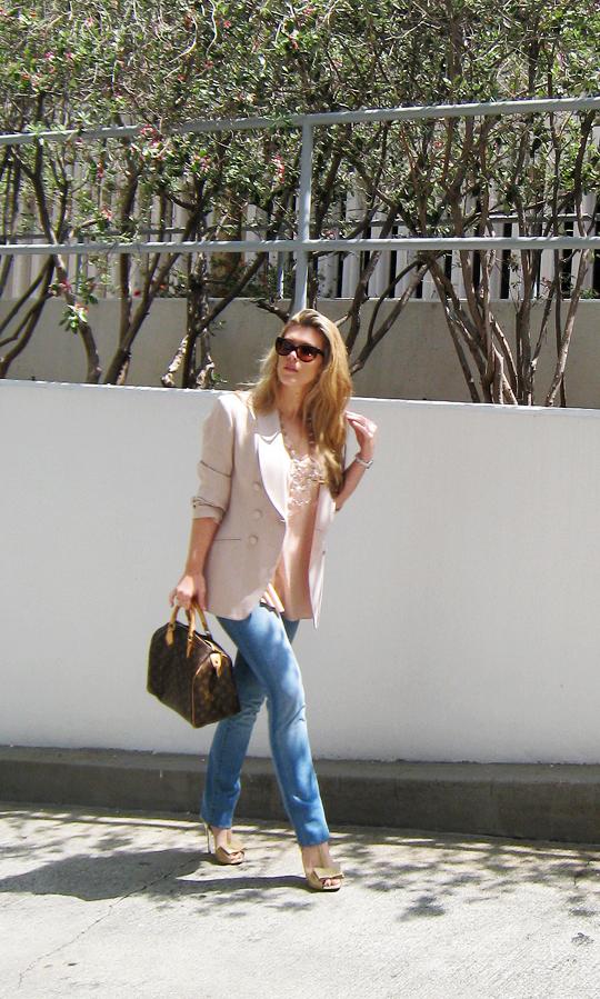 prada chandelier+peach blouse+beige blazer+j brand jeans+vuitton speedy -5