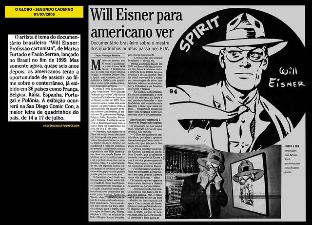 """""""Will Eisner para americano ver"""" - O Globo - 01/07/2005"""