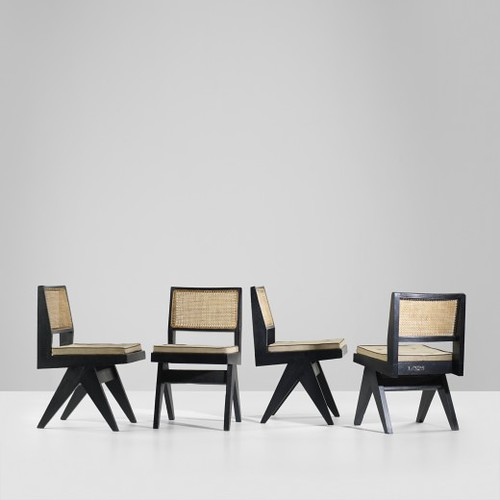 Pierre Jeanneret, set of four chairs from Chandigarh