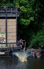 Attention Getter (Benjamin Lehman) Tags: fall mike water canon river kent jump dive deck cuyahoga midair benjamin splash gypsy hobo leap tramp plummet vagabond decend fellapart 2story twostories benjaminlehman