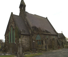 East and North sides of the Church of England Chapel in Ince-in-Makerfield Cemetery (lower_incer) Tags: cemetery graveyard chapel wigan alfredwaterhouse inceinmakerfield grade2listed