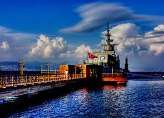 Museum ship - İzmir (Yener ÖZTÜRK) Tags: blue museum clouds turkey türkiye deniz mavi turkije smyrna allrightsreserved izmir bulut ege sahil トルコ müze turkei aegeansea museumship denizaltı balçova inciraltı tcgege savaşgemisi flickrlovers yeneröztürk müzegemi tcgpirireis fırketeyn
