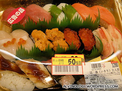 Sushi and sashimi are all 50% off after 7pm!