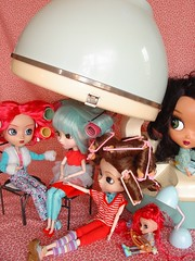 Group Hairapy (raining rita) Tags: pink red vintage ouch remember turquoise pullip rollers 1970s sponge mattel hairdryer curlers ladysunbeam minipullip beautycutie brushrollers