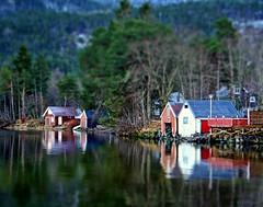Miniature boathouses (larigan.) Tags: reflections miniature reservoir hms tiltshift boathouses tiltshift12 fakeeffect abigfave larigan phamilton brusdalsvatn happyminiaturesunday