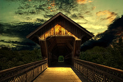 Guelph Covered Bridge (KY-Photography) Tags: ca bridge trees light sunset shadow sky ontario canada clouds speed sunrise river dark downtown ky guelph dramatic coveredbridge nikkor khalid allrightsreserved kal gloaming speedriver explored timberbridge nikond80 18135mmf3556g kyphotography