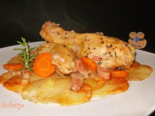 Pollo estofado campesina-plato