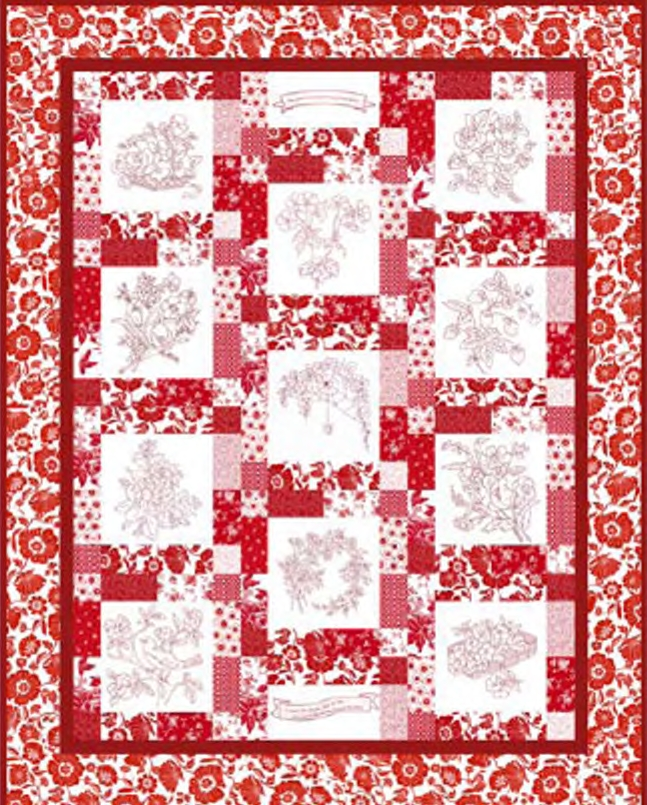 Download the pattern for RJR Fabrics Redwork Garden quilt Christmas Quilt Patterns Free Download