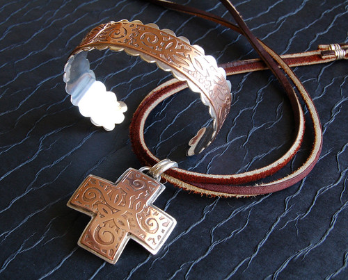 Etched Copper and Sterling Silver Pendant and Cuff Bracelet