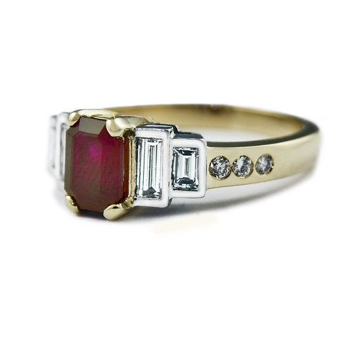 "Jeweller in London ""Atlantic"" Emerald Cut Ruby Engagement Ring"